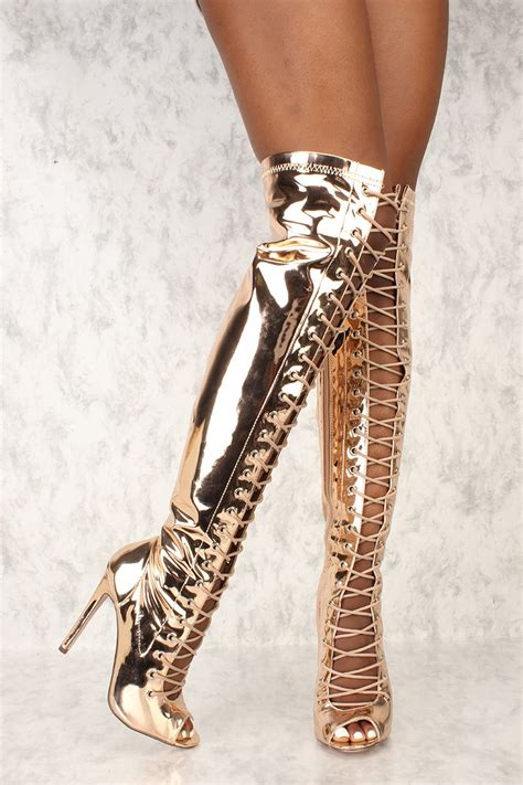 gold high heel boots gold lace up peep toe thigh high heel boots metallic