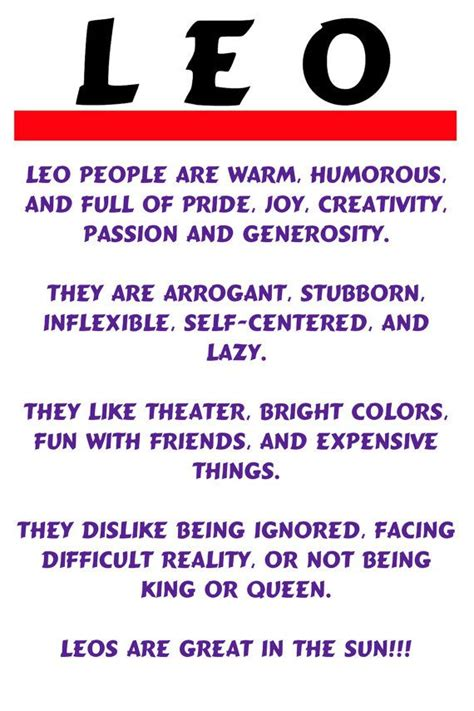 note card leo horoscope description fun humorous by