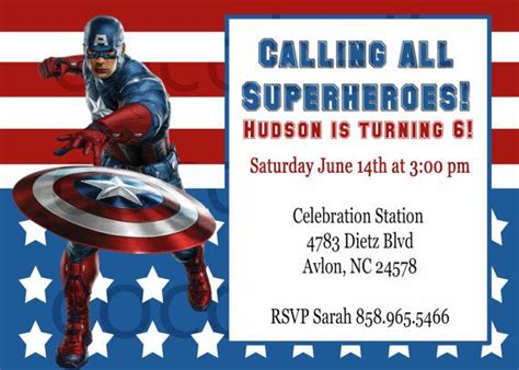 captain america birthday card template captain america invitation digital by