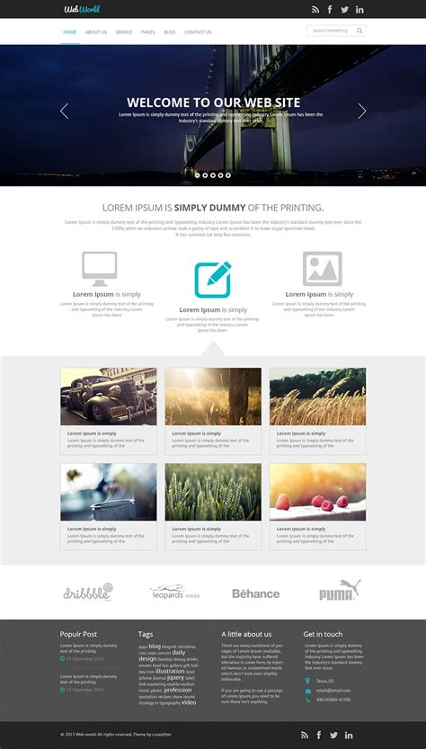 Free Business Web Template Psd Css Author Web Template