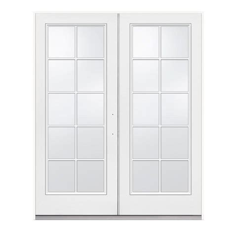 Jeld Wen 72 In X 80 In Left Hand Inswing Steel French Patio Door Home Depot