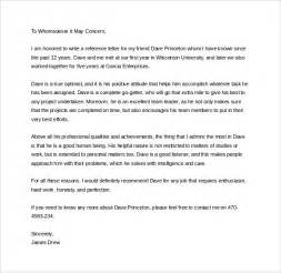 personal letter of recommendation template sle personal letter of recommendation 16