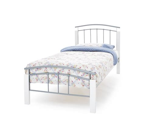 Silver Frame Bed Tetras Silver Metal And White Bed Frame Frances Hunt