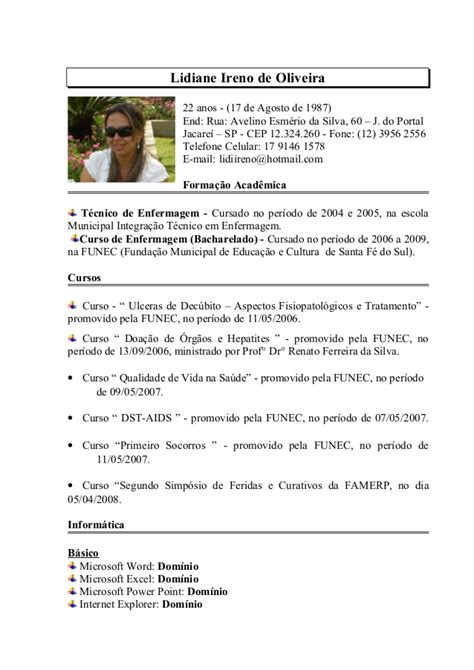 modelo curriculo tecnico de enfermagem curriculo lidiane jacarei