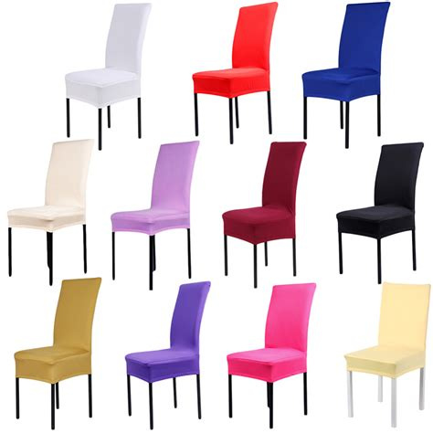 1pcs 11 Solid Colors Polyester Spandex Dining Chair Covers Brown Dining Chair Covers