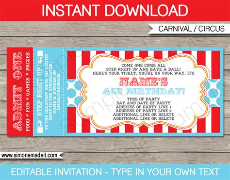 Circus Ticket Invitation Template Carnival Or Circus Party Ticket Invitation Template