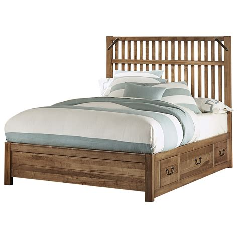 artisan bed artisan post sedgwick rustic queen slat bed with 3 side