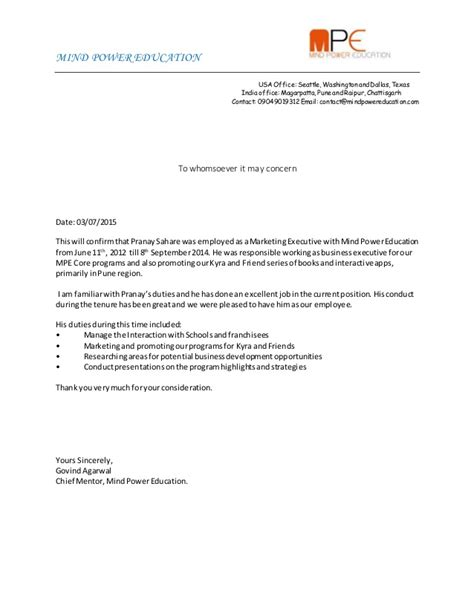experience letter for pranay sahare 1