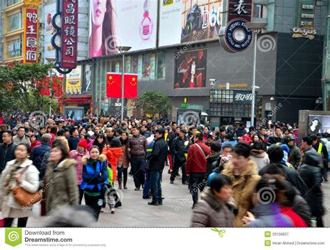 shopping in shanghai during new year shoppers throng shanghai nanjing road editorial