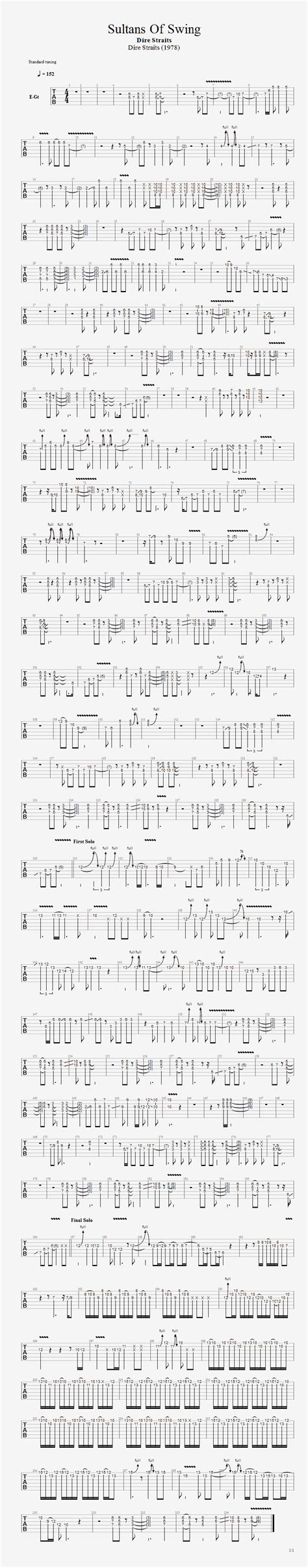 swing guitar sultans of swing guitar tab guitarnick