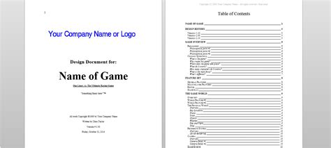 what you think about this game design document template
