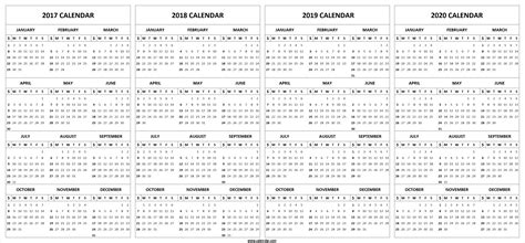 year in review family 2017 template half sheet card 4 four year 2017 2018 2019 2020 calendar printable