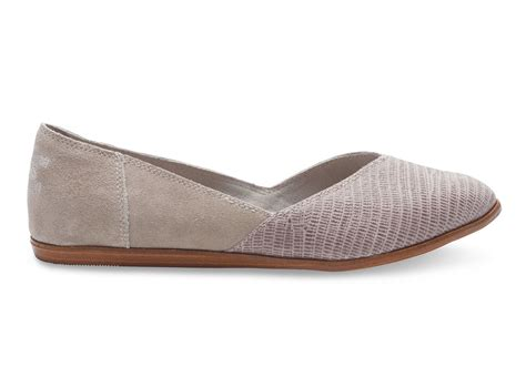 womens grey flat shoes toms grey suede emboss s jutti flats in gray lyst