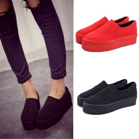 Simple Comfortable Women Girls Platform Slip On Pumps