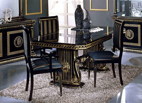 versace style italian high gloss dining extending table