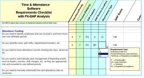 fit gap analysis template xls time and attendance software requirements checklist fit