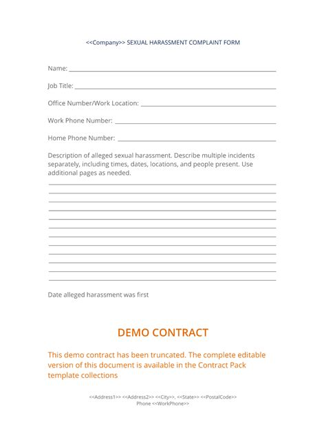 Sexual Harassment Complaint Form Workplace Harassment Complaint Form Template