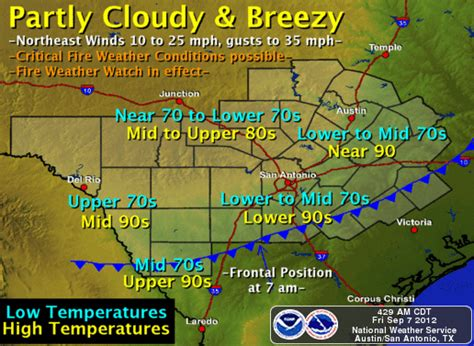 texas weather map forecast critical wildfire conditions possible this weekend in central texas stateimpact texas