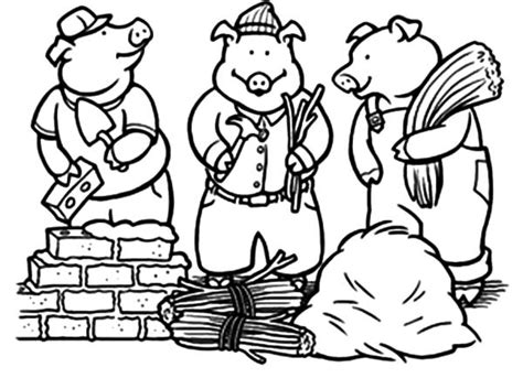 three little pigs on constructions job coloring pages