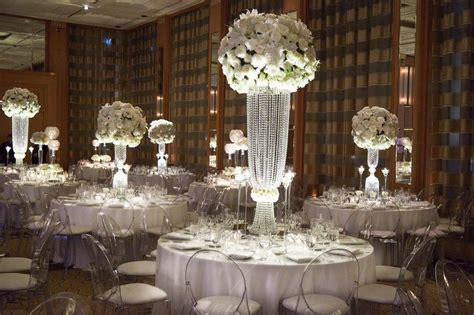 wedding centerpieces with crystals reception d 233 cor photos centerpieces with white blossoms