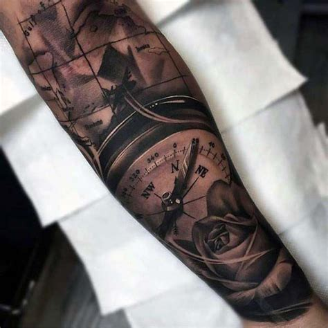nice arm tattoos for men realistic compass mens forearm sleeve id 233 es
