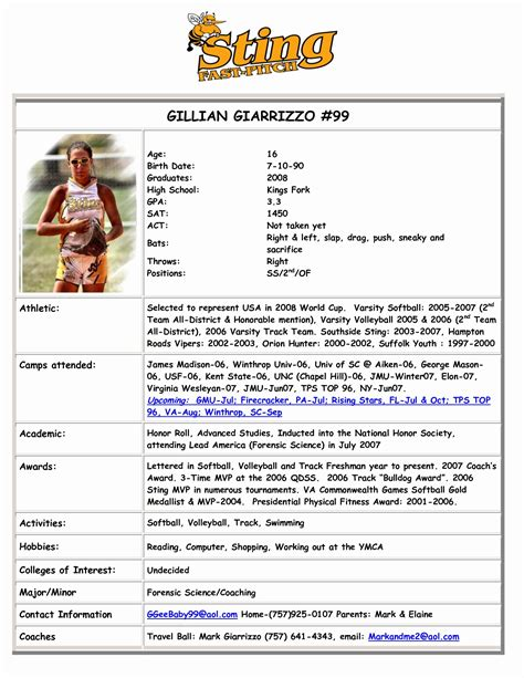 Funky Basketball Player Profile Template Vignette Model Resume Template Duanheavenriverview Info College Recruiting Profile Template