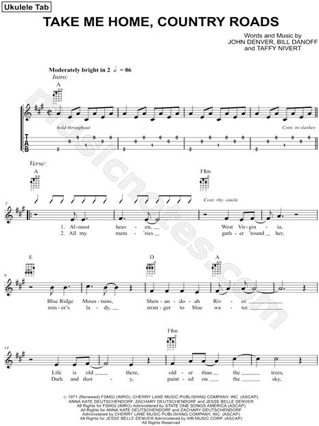 printable lyrics country roads john denver john denver quot take me home country roads quot sheet music in a