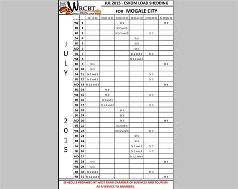 printable load shedding schedule load shedding schedule for july krugersdorp news