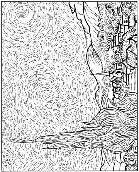 coloring pages van gogh starry starry night free coloring pages of vincent van gogh