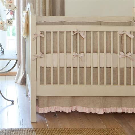 Linen Crib Bedding Set Light Pink Linen Crib Bedding Baby Crib Bedding Carousel Designs