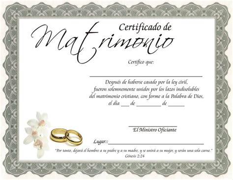 certificado de matrimonio para kermes bodas kermes