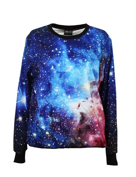 galaxy space print sleeve lycra cotton