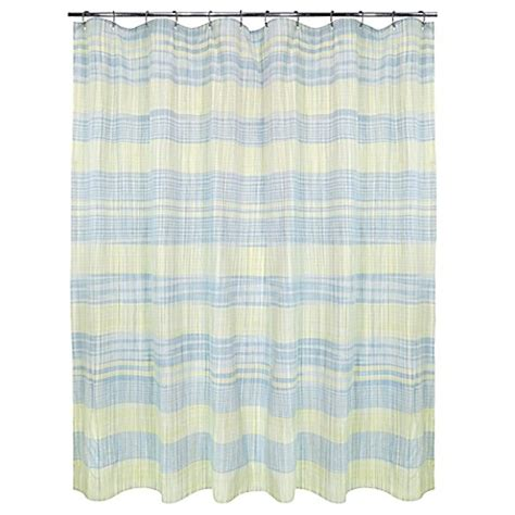 yellow and blue shower curtain sumatra shower curtain in yellow blue bed bath beyond