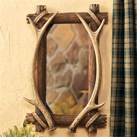 antler wood mirror for bathroom vanity in a rustic