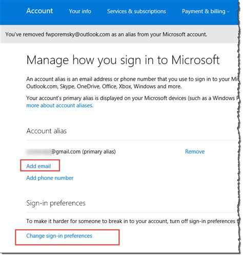 outlook sign in to your microsoft account add an alias to an outlook com account