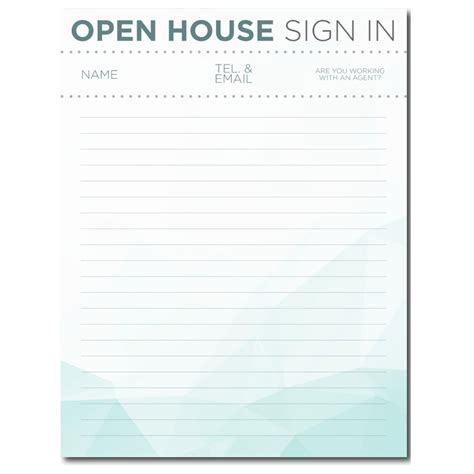 Open House Guest Register Template free real estate templates
