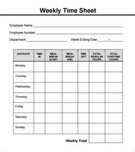 Time Recording Template by Weekly Timesheet Template 8 Free In Pdf