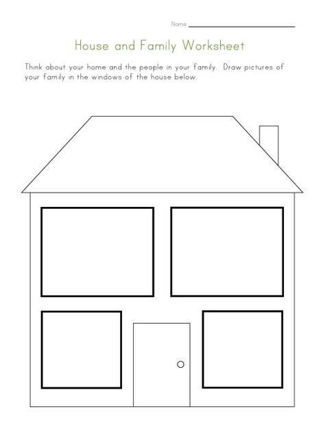 kindergarten activities my house house and family worksheet preschool family