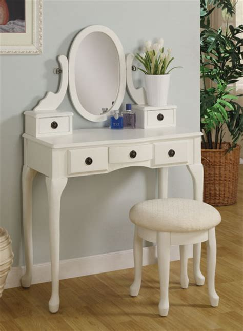 White Makeup Vanity Table White Makeup Vanity Table Set W Swivel Mirror Drawers And Bench