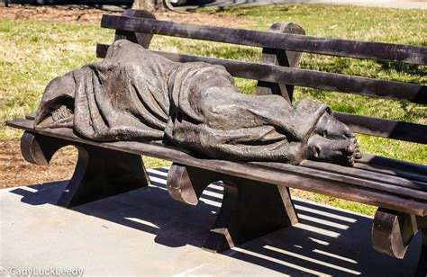 homeless jesus on park bench is jesus homeless the travel lady in her shoes