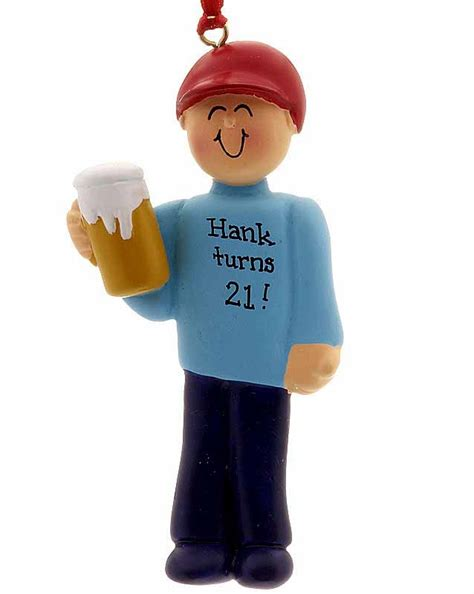 beer drinker male or 21st birthday personalized ornament
