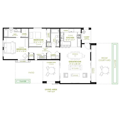 2 bed room floor plan modern 2 bedroom house plan