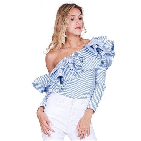 One Shoulder Flounce Crop Top Size S M L 9877 one shoulder ruffle blouses and shirts 2016 blue striped shoulder tops
