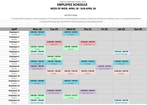 schedule template word employee schedule template in excel and word format zip
