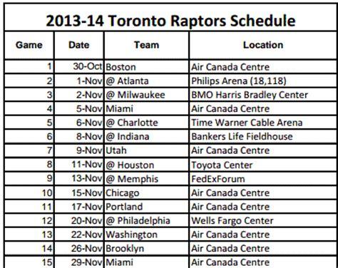 printable raptors schedule print out toronto raptors schedule for 2013 14