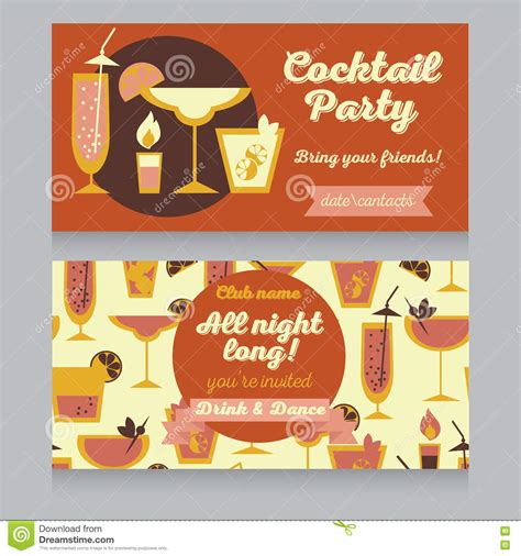 vintage cocktail party illustration design template for cocktail party in retro style stock