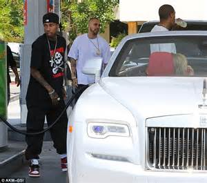 Tyga Rolls Royce Tyga Keeps It Casual While Filling Up His White Rolls