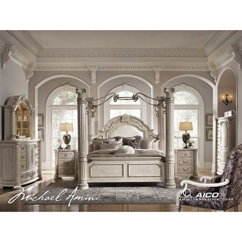 monte carlo ii canopy poster bedroom set silver pearl aico furniture furniture cart