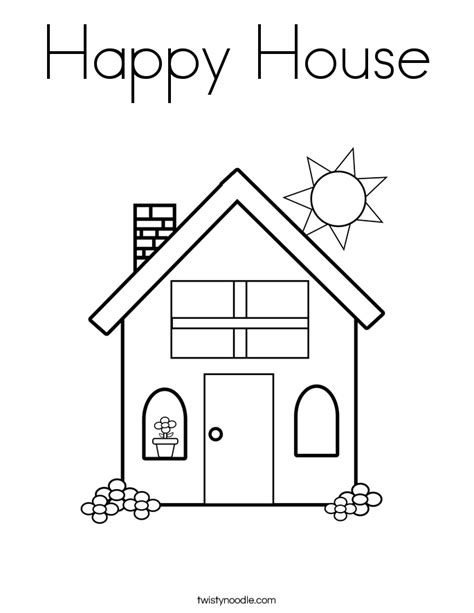 a coloring page of a house happy house coloring page twisty noodle