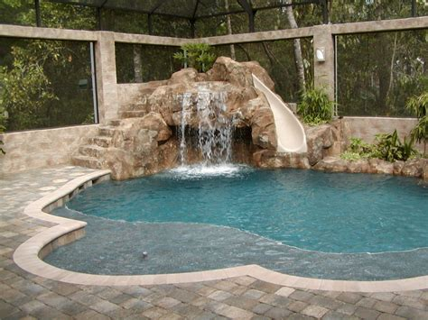 pool designs with slides free form pool with slide all aqua pools rock wall